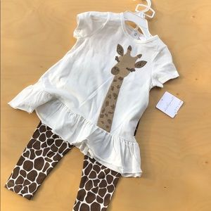 Starting out giraffe appliqué sequins outfit
